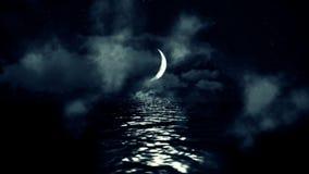 Magiska Crescent Moon Above havet som reflekterar på vatten på en molnig stjärnklar natt stock illustrationer