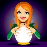Magiska Crystal Ball Fortune Teller Arkivfoto
