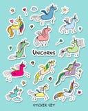 Magiska enhörningar, klistermärkesamling för din design stock illustrationer