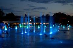 Magiska fountais för Plovdiv stad, Bulgarien Arkivbilder