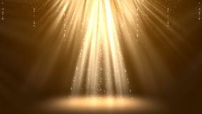 Magiska guld- ljusa strålar med partikelanimeringbakgrund arkivfilmer