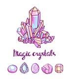 Magiska kristaller Juvelerarekort royaltyfri illustrationer