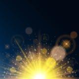 Magiska ljus på en genomskinlig blå bakgrund Sol- glöd, linseffekt, solfacklan ljus design också vektor för coreldrawillustration Arkivbild