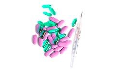 Magiska preventivpillerar som kurerar feber Arkivfoto