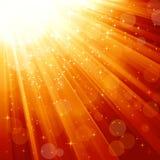 Magiska stjärnor som stiger ned på strålar av lampa Arkivfoto