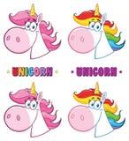 Magiska Unicorn Head Cartoon Character Collection vektor illustrationer