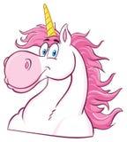 Magiska Unicorn Head Classic Cartoon Character royaltyfri illustrationer