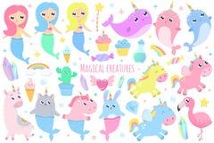 Magiska varelser Narval enhörningsjöjungfru, kaninsjöjungfru, katt M royaltyfri illustrationer