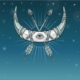 Magiskt horn ett halvmånformig, måne i metallharnesk royaltyfri illustrationer