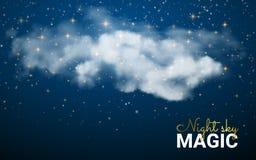 Magiskt julmoln Glänsande stjärnor Bakgrund för abstrakt begrepp för natthimmel Vektorillustrationjul Felikt damm Arkivfoton