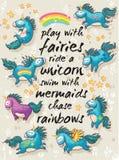 Magiskt kort med gulliga enhörningar missbelåten illustration för pojketecknad film little vektor Arkivbilder