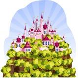Magiskt kungarike på ett berg vektor illustrationer