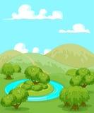Magiskt lantligt landskap stock illustrationer