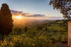 Magiskt ljus av Tuscany Arkivfoto