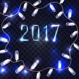 Magiskt mörker - blå bakgrund med girlanden och 2017 för neon den brinnande på Vektor Illustrationer