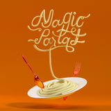 Magiskt pastacitationstecken med den sked- och för gaffel 3D tolkningen Royaltyfri Illustrationer