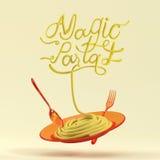 Magiskt pastacitationstecken med den sked- och för gaffel 3D tolkningen Vektor Illustrationer