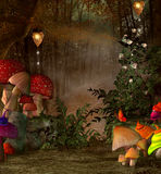 Magiskt ställe in i skogen stock illustrationer
