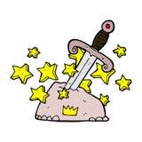 magiskt svärd för komisk tecknad film i sten Arkivbild