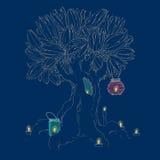 Magiskt träd och stearinljus Royaltyfri Illustrationer