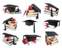Magisterski kapelusz, książki i ślimacznica, Obraz Stock