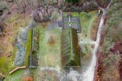 Magistrala dom muzealny Hösseringen w Là ¼ nebà ¼ rger Heide blisko Suderburg od powietrza z a geometrically na otwartej przestr obraz royalty free