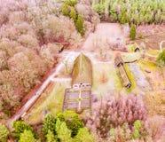 Magistrala dom muzealny Hösseringen w Là ¼ nebà ¼ rger Heide blisko Suderburg od powietrza z a geometrically na otwartej przestr fotografia royalty free