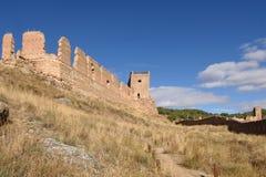 Magistrala kasztel i ściany Daroca; Zaragoza prowincja, Aragon; Zdrój obrazy stock