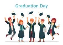 Magistranci Skalowanie dzień student uniwersytetu, sukcesu egzamin i szkoły wyższej grupa rzuca w górę naukowa, nakrywa wektor ilustracji