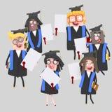 Magistranci z ich dyplomu papierem Zdjęcie Stock