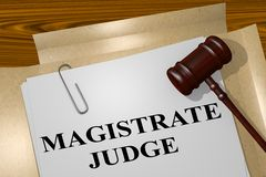 Magistrate Judge concept. 3D illustration of MAGISTRATE JUDGE title on legal document Stock Images