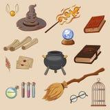 Magiuppsättning Sakertrollkarl: trollkarl hatt, magisk bok, rulle, dryck, kvast vektor illustrationer