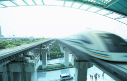 Maglev train arriving shanghai station Royalty Free Stock Photo