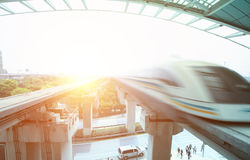 Maglev train arriving shanghai station Stock Photo