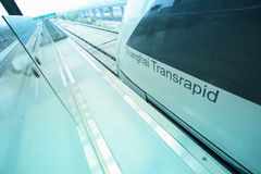 Maglev train arriving shanghai station Royalty Free Stock Images