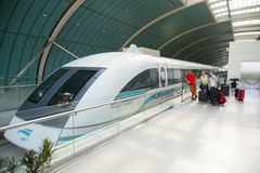 Maglev Train or Shanghai Transrapid. SHANGHAI, CHINA - MAY 9, 2015: The Maglev Train or Shanghai Transrapid is the first commercially operated high-speed Stock Photo