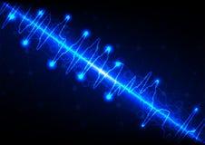 Maglia astratta con il fondo del blu dell'onda leggera Illustrati di vettore Fotografia Stock