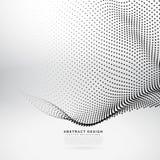 Maglia astratta dell'onda della particella 3d nello stile cyber di tecnologia Fotografia Stock