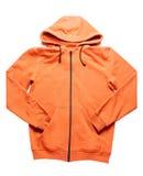 Maglia con cappuccio arancio isolata su bianco Immagine Stock
