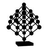 Maglia del cubo con il vettore 01 dei nodi delle sfere di metallo Fotografia Stock