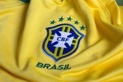 Maglia gialla di federazione di calcio del Brasile Fotografia Stock Libera da Diritti