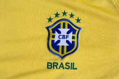 Maglia gialla di federazione di calcio del Brasile Immagine Stock Libera da Diritti
