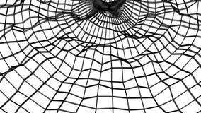 Maglia tridimensionale di astrazione nera deforme lentamente su un fondo bianco animato 3d rendono royalty illustrazione gratis