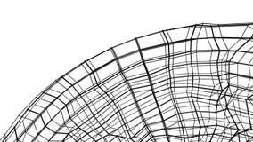 Maglia tridimensionale di astrazione nera deforme lentamente su un fondo bianco animato 3d rendono illustrazione vettoriale