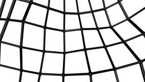 Maglia tridimensionale di astrazione nera deforme lentamente su un fondo bianco animato 3d rendono illustrazione di stock