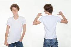 Maglietta bianca in bianco Fotografia Stock