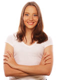 Maglietta bianca d'uso della giovane donna Fotografia Stock Libera da Diritti
