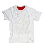Maglietta in bianco bianca per il modello isolato su bianco Fotografia Stock Libera da Diritti