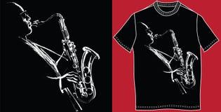 Maglietta con il sassofonista royalty illustrazione gratis
