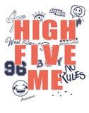 Maglietta d'avanguardia di modo per i ragazzi con elasticità cinque dell'iscrizione me, nessun regole e toppe, emoji, disegnato c illustrazione di stock